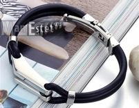 Мужской браслет каучук и сталь (арт.BR-019)
