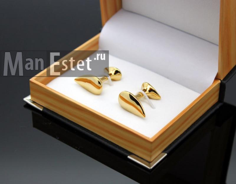 Золотые запонки Drop gold (арт.CL-4511)