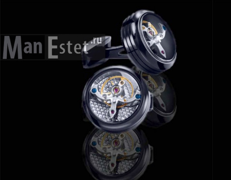 Запонки с часовым механизмом Турбийон (Tourbillon black) арт.CL-5084