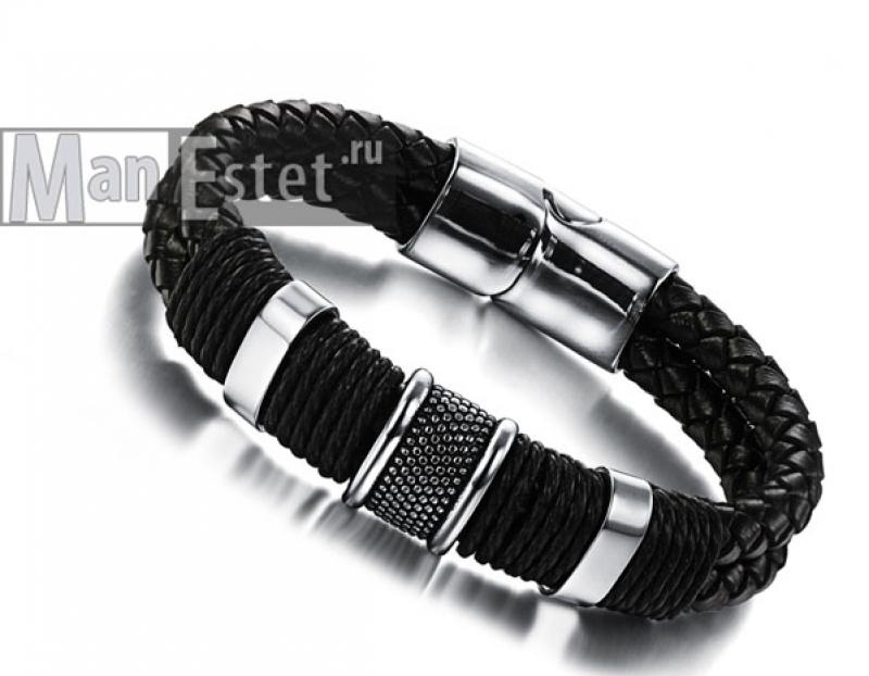 Мужской кожаный браслет (арт.BR-017)