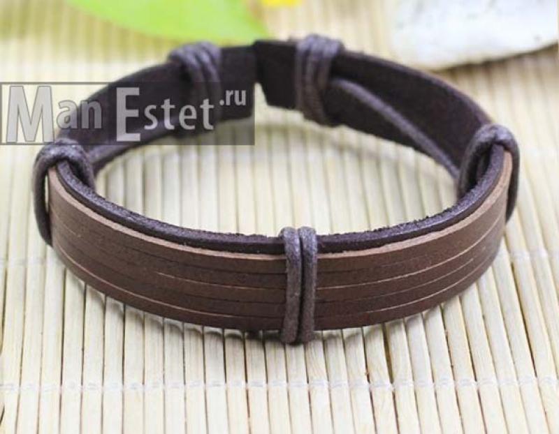 Мужской кожаный браслет (арт.BR-027)