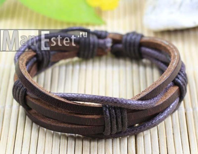 Мужской кожаный браслет (арт.BR-030)