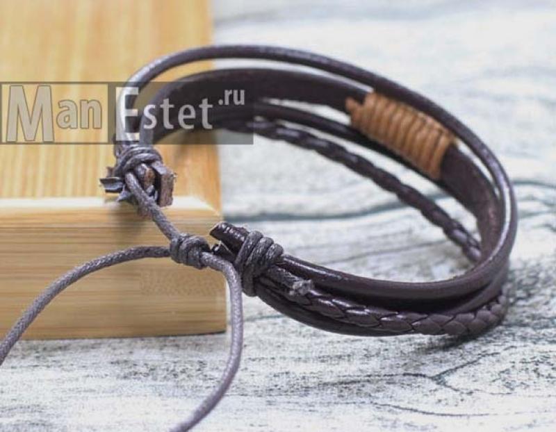 Мужской кожаный браслет (арт.BR-031)