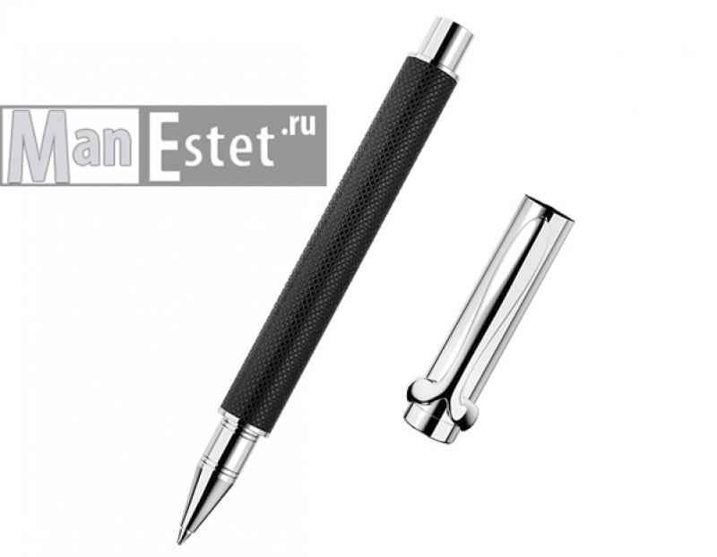 Ручка роллер из серебра черная
