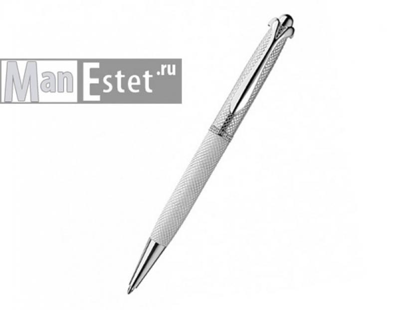 Серебреная ручка роллер с поворотным механизмом, цвет белый (арт. R048114)