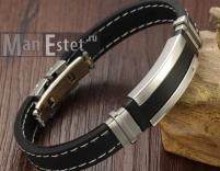 Мужской браслет каучук и сталь (арт.BR-022)