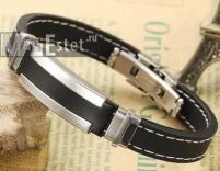 Мужской браслет каучук и сталь