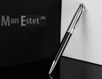 Серебреная ручка роллер с поворотным механизмом, цвет черный (арт. R048111)