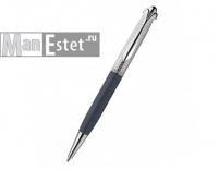Серебреная ручка роллер с поворотным механизмом, цвет синий (арт. R048112)