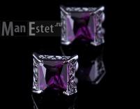 Запонки стальные с кристаллом Purple