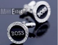Запонки сталь с эмалью Boss