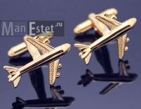 Золотые запонки Boeing (арт.CL-4742)