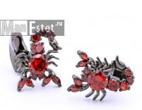 Запонки c красным кристаллом Скорпион