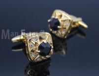 Запонки позолота c черным кристаллом