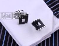 Запонки стальные с черной эмалью