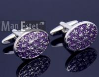 Запонки сталь с эмалью пурпурного цвета