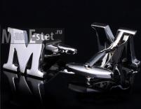 """Запонки стальные буква """"М"""""""