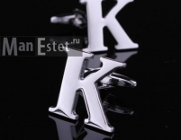 """Запонки стальные буква """"К"""""""