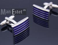 Запонки стальные с синей эмалью
