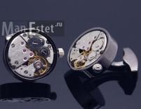 Запонки с часовым механизмом вороненая сталь