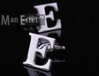 """Запонки стальные в форме буквы """"Е"""""""