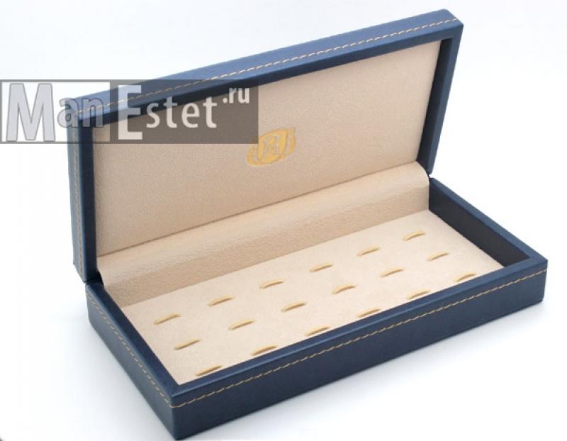 Шкатулка для запонок на 9 пар (синий цвет)