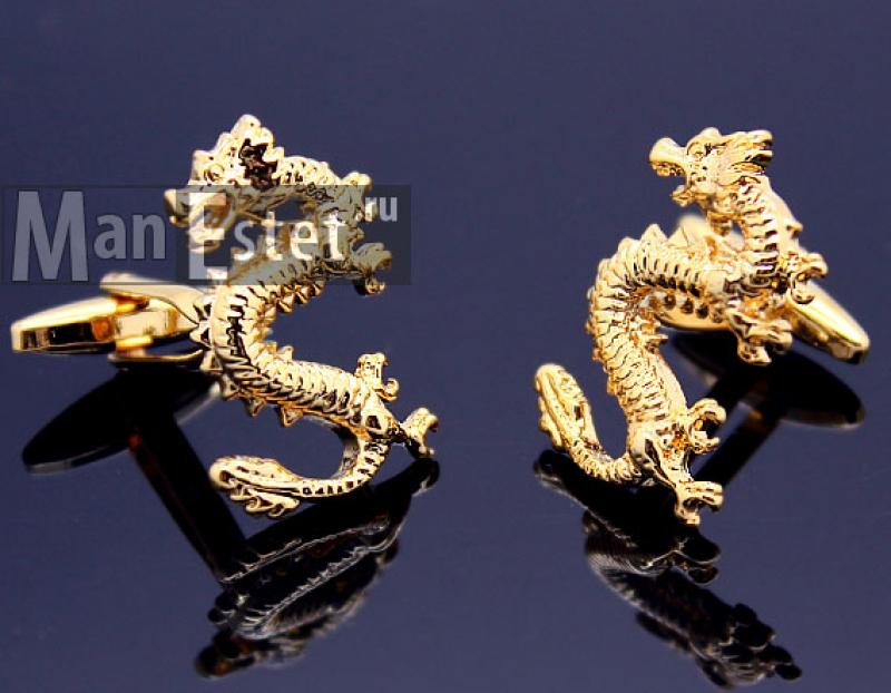 Золотые запонки Dragon (Дракон) арт.CL-4515