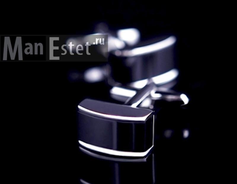 Запонки стальные с ониксом (арт.CL-5075)
