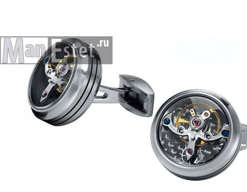 Запонки с часовым механизмом Турбийон (Tourbillon) арт.CL-5078
